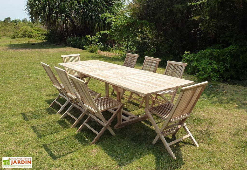 Salon de Jardin Bois Teck Table Extensible Rectangulaire 280 ...