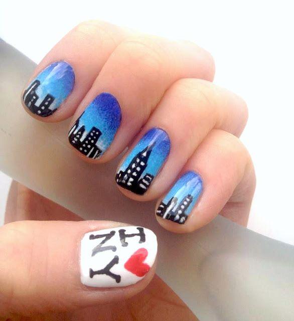 New York Skyline Nails - Nail Art http://nailsbymellissa.blogspot.co ...