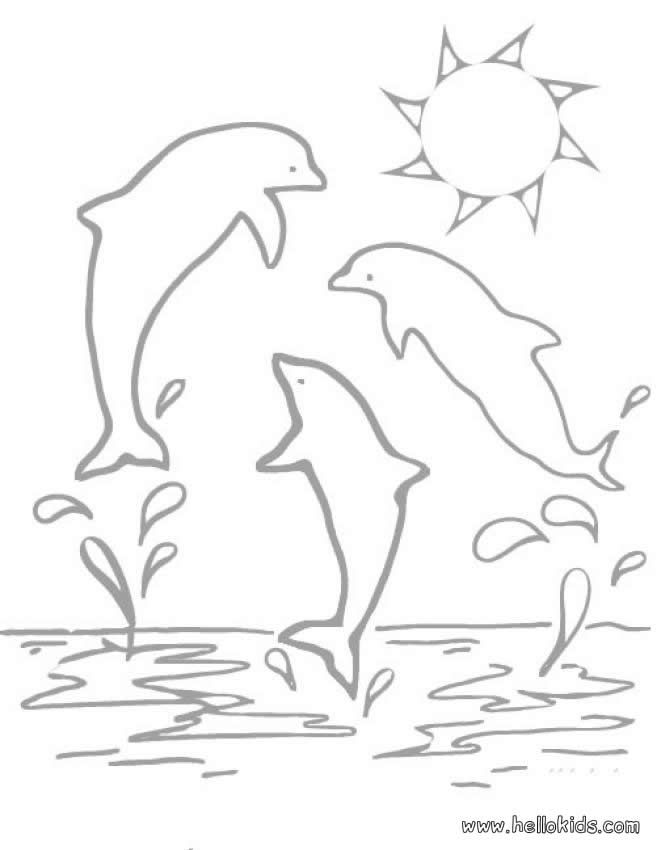 Three Dolphins Coloring Page Nice Coloring Sheet Of Sea World More Content On Hellokids Com Dolphin Coloring Pages Animal Coloring Pages Coloring Pages