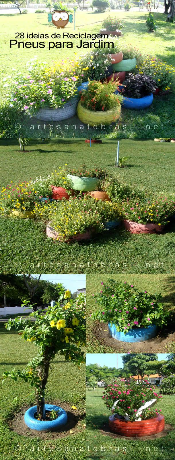 Garden decor with tyres   Jardim com Pneus para Decorar em Sua Casa Modelos e Ideias
