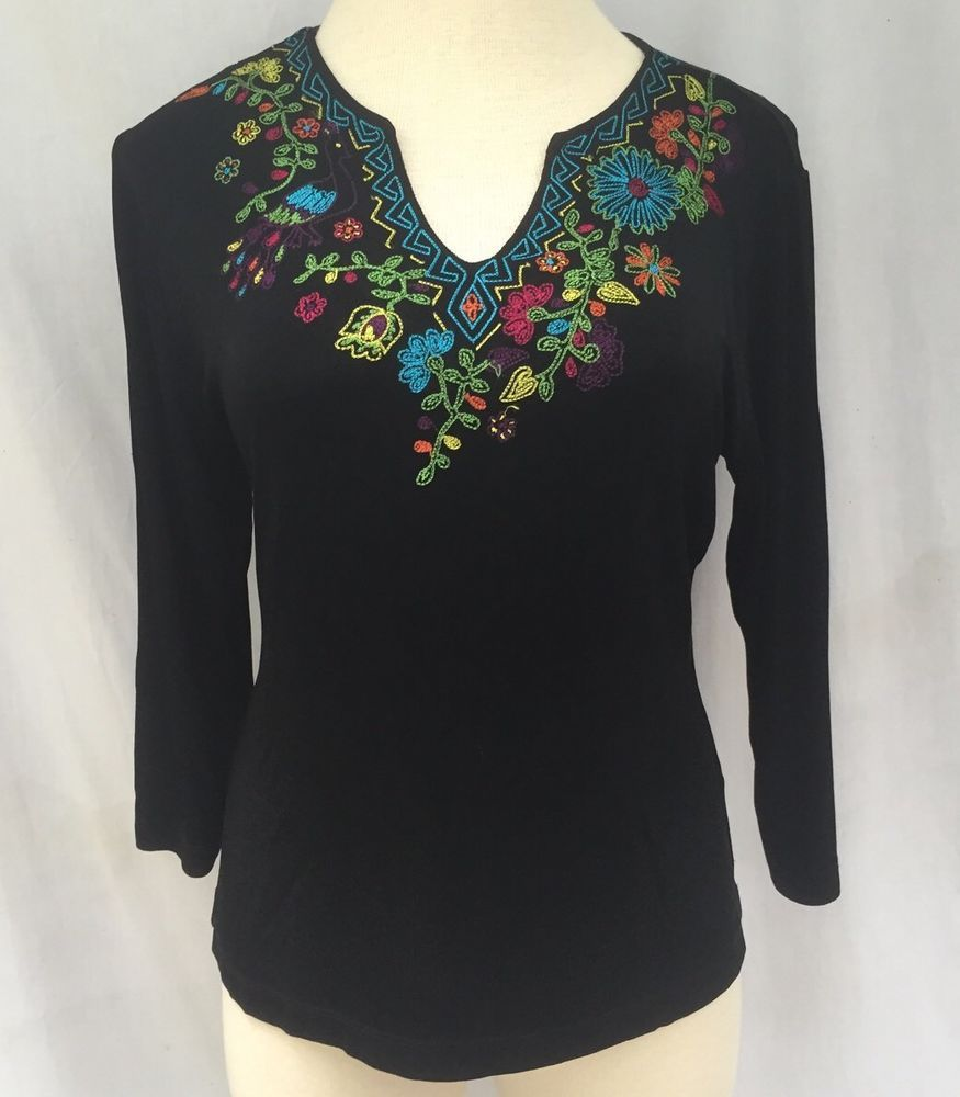 CHICO'S TRAVELERS EMBROIDERED BLACK NO IRON TOP SHIRT BLOUSE CHICO SZ 3 US SZ 16 #Chicos #Blouse #Career