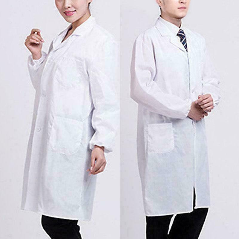 Unisex White Lab Coat Doctor Coat Hygiene Food Industry White Lab Coat