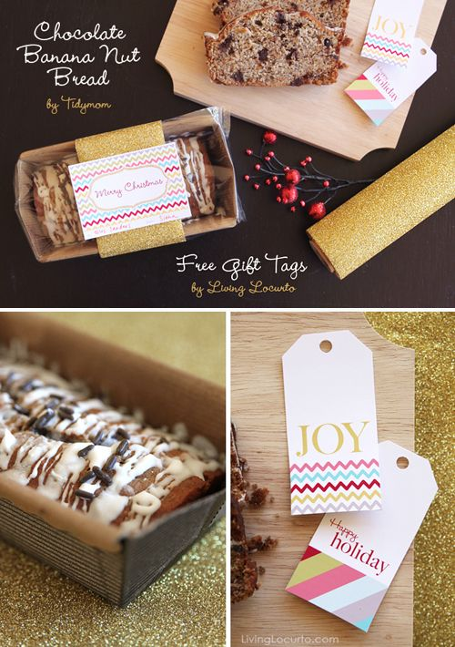 Homemade chocolate banana nut bread with free gift tags christmas make gift giving a cinch this year with this chocolate banana nut bread and free printable gift tagsperfect for neighbors coworkers family and friends negle Gallery
