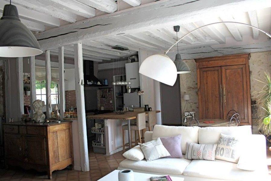 poutres apparentes, cuisine, îlot central, colombages, ancien - deco maison ancienne avec poutre