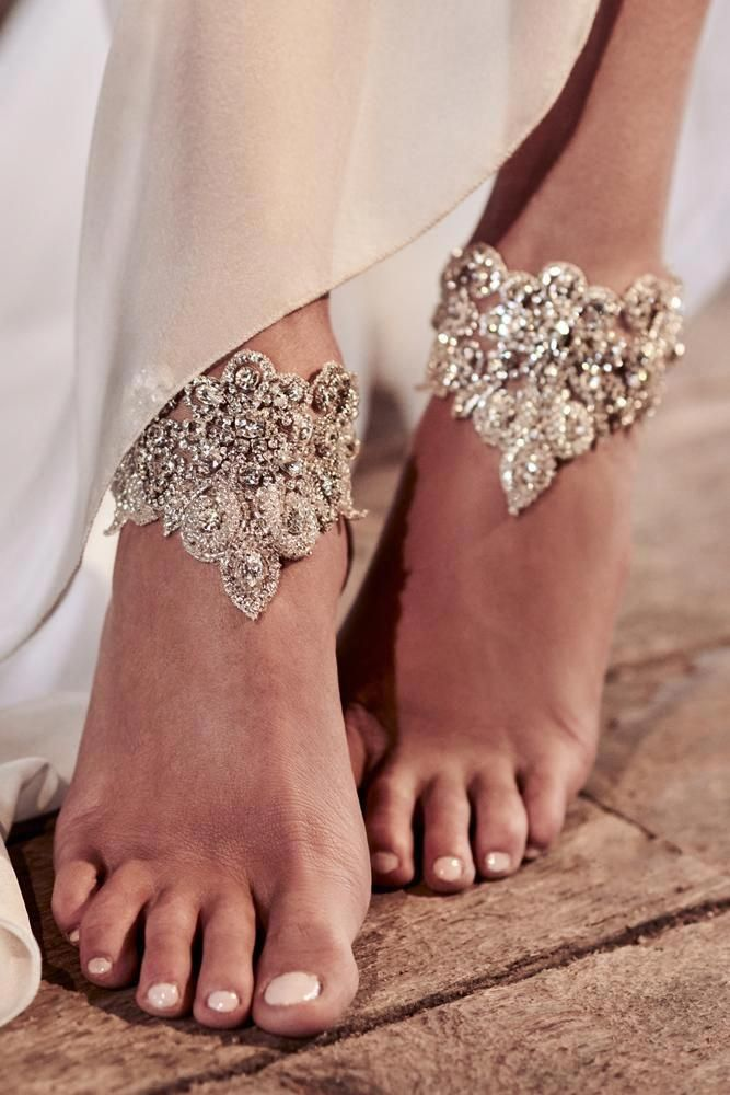 30 Beach Wedding Shoes That Inspire is part of Beach wedding shoes, Silver wedding shoes, Wedding shoes, Wedding anklets, Bare foot sandals, Beach wedding - We would like to inspire you with awesome beach wedding shoes  Take a look at this fabulous trend  barefoot sandals with lace, pearls and rhinestones