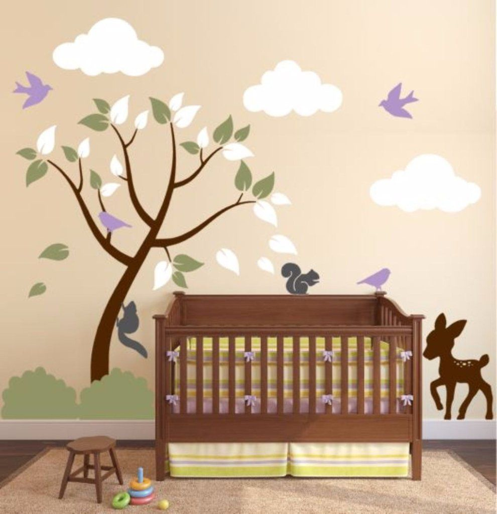 Decals For Baby Room With Tree, Clouds, And Forest Animals