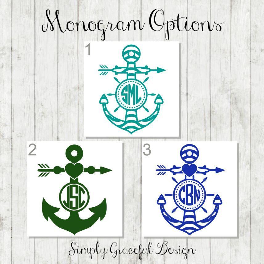 Anchor Monogram Decal Custom Anchor Monogram Anchor Decal - Anchor custom vinyl decals for car