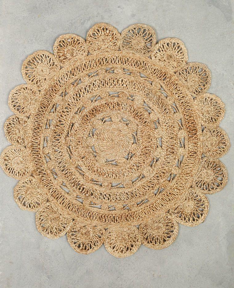 Alfombra redonda de yute beige gris ceo alfombras - Alfombras redondas ...