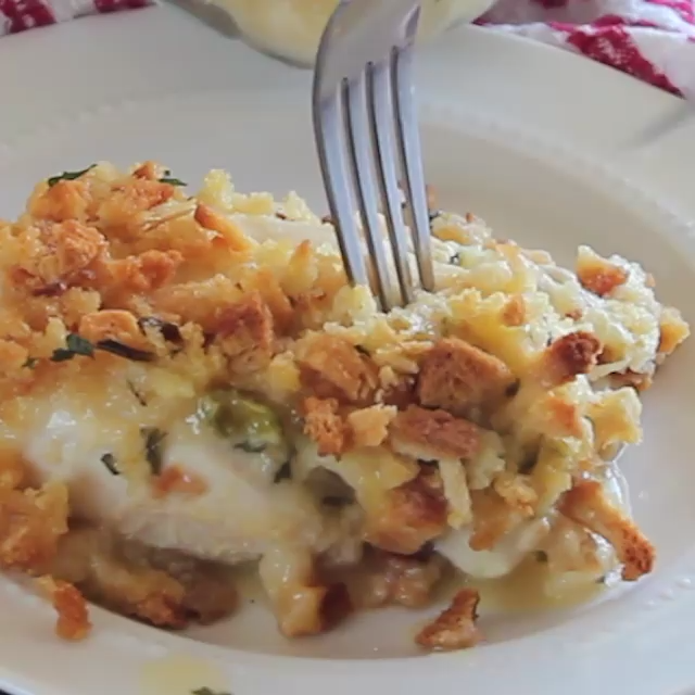 Cheesy Chicken Stuffing Casserole