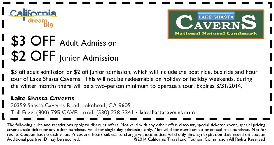 Lake Shasta Caverns Coupon Http Www Visitcalifornia Com Fun