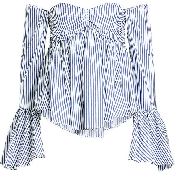 c0ff3bd88fb4b2 Caroline Constas Max Striped Cotton Off-Shoulder Blouse ( 285) ❤ liked on Polyvore  featuring tops