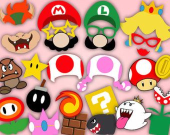 Digital Super Mario Photo Booth Props Printable Super Mario