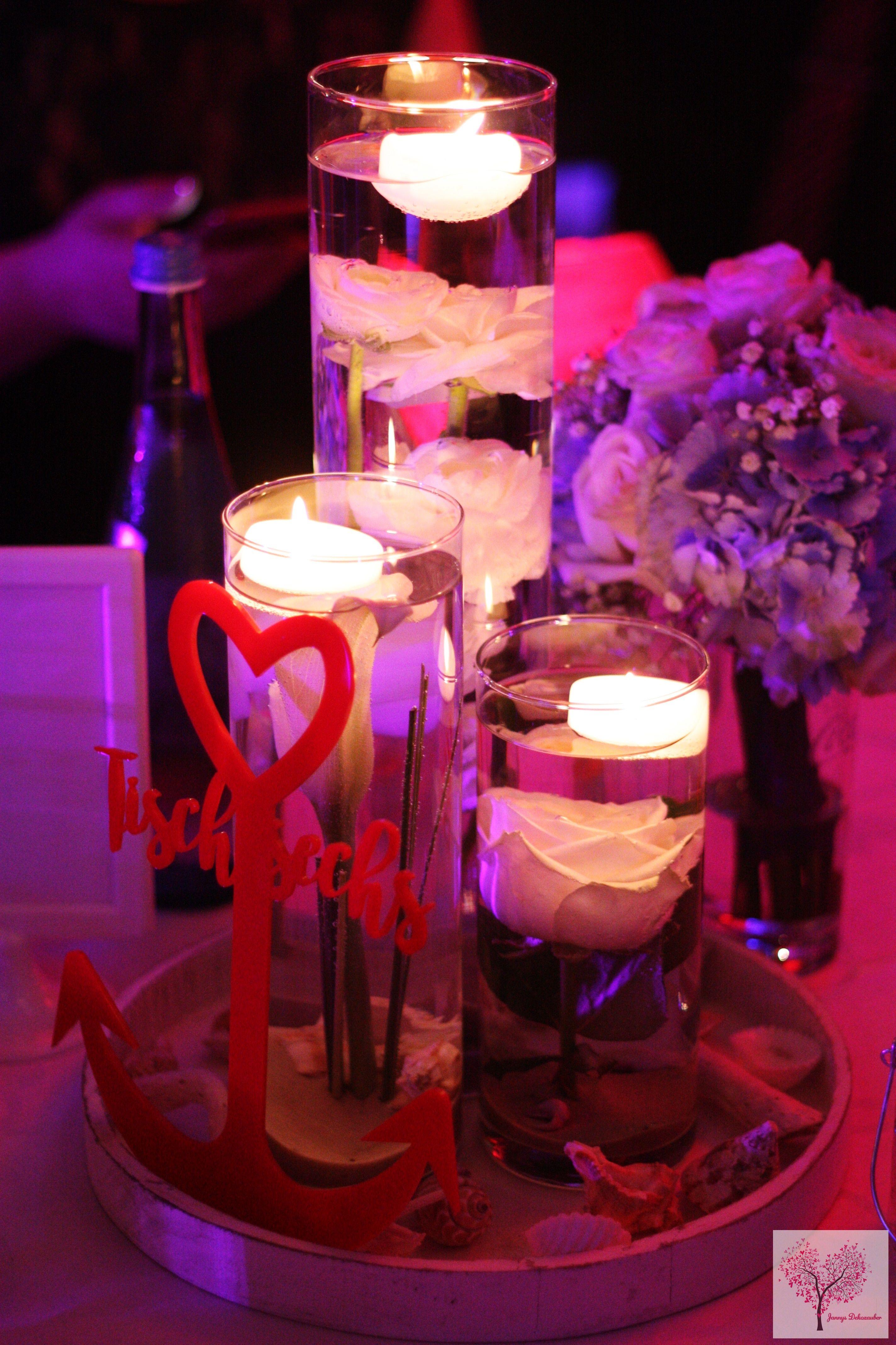 Maritim Tischdeko Hochzeit Anker Muscheln Schwimmkerzen Blumen Unter