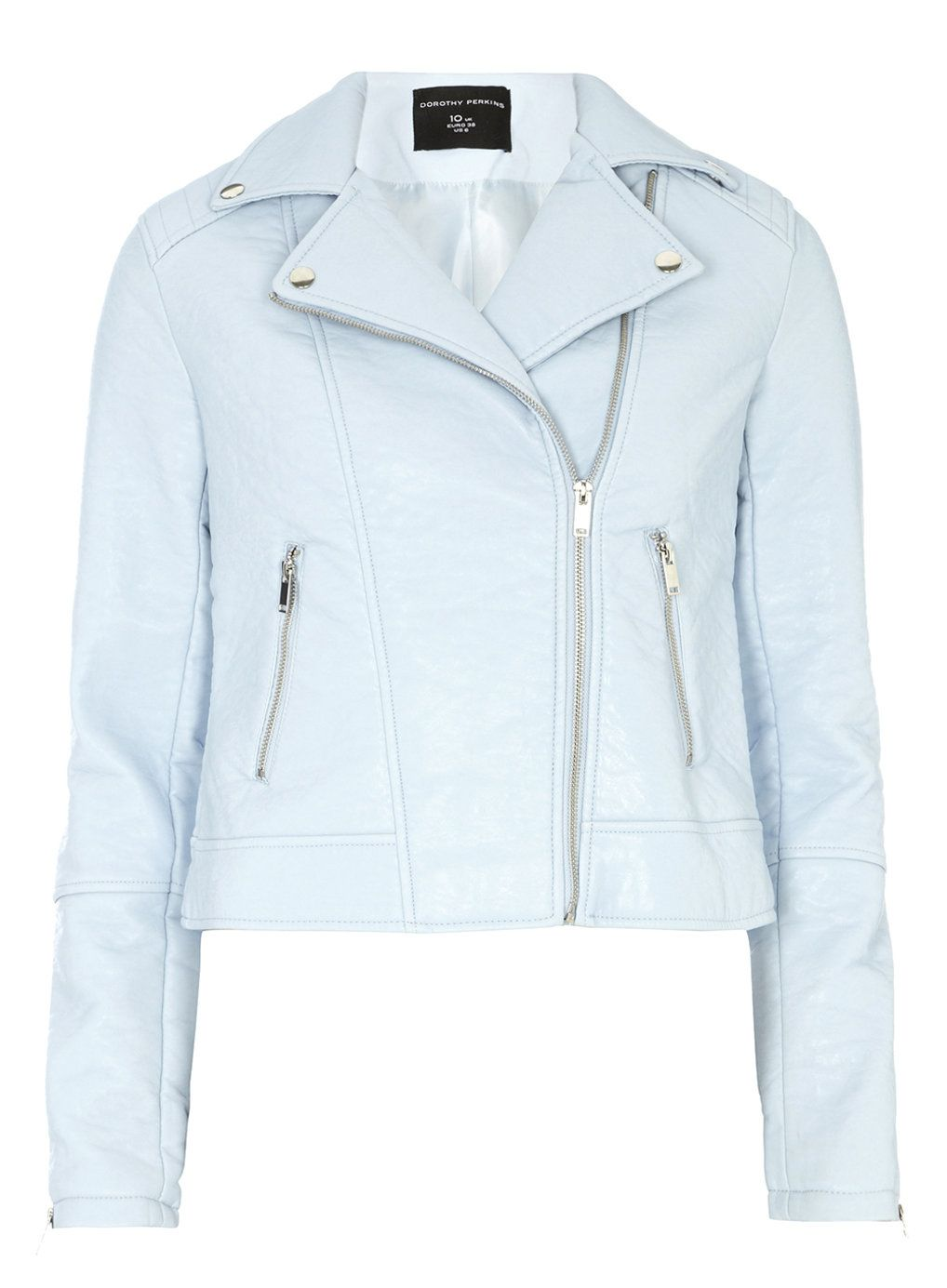 Light Blue Faux Leather Biker Jacket - Jackets & Coats - Clothing ...
