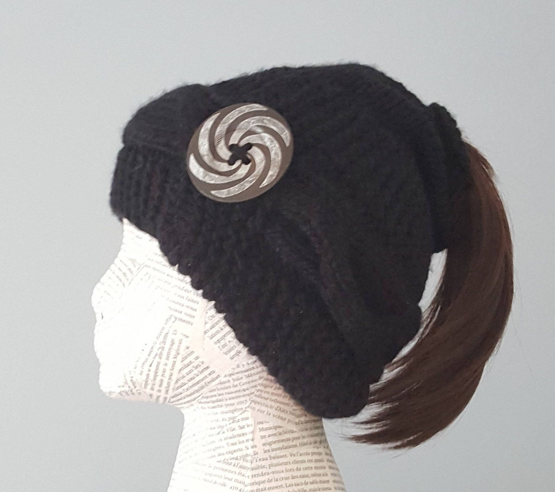 Knitting PATTERN Ponytail hat PATTERN cabled hat pattern slouchy ...