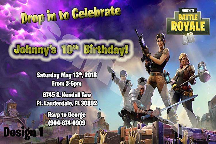 Fortnite video game personalized birthday invitations more