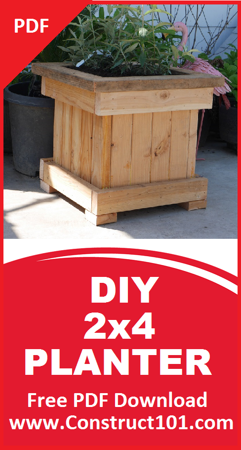 2x4 Planter Box Plans Pdf Download Construct101 In 2020 Planter Box Plans Planter Boxes Planters