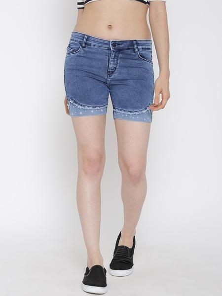 LadyIndia.com # Western Wear, Devis Women Blue Washed Denim Shorts - Women Western Wear, Shorts, Women Shorts, Denim Shorts, Western Wear, https://ladyindia.com/collections/western-wear/products/devis-women-blue-washed-denim-shorts-women-western-wear?variant=30293280333