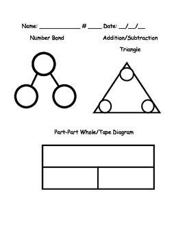 Number Bond Math Triangle Tape Diagram Part Part Whole