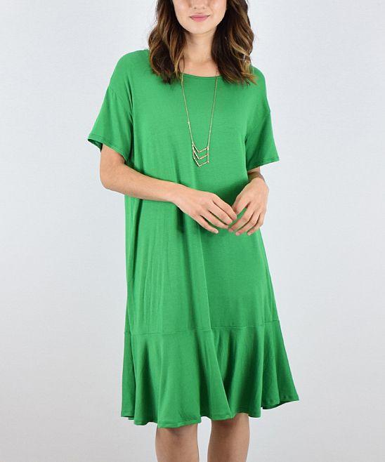 Kelly Green Ruffle-Hem A-Line Dress