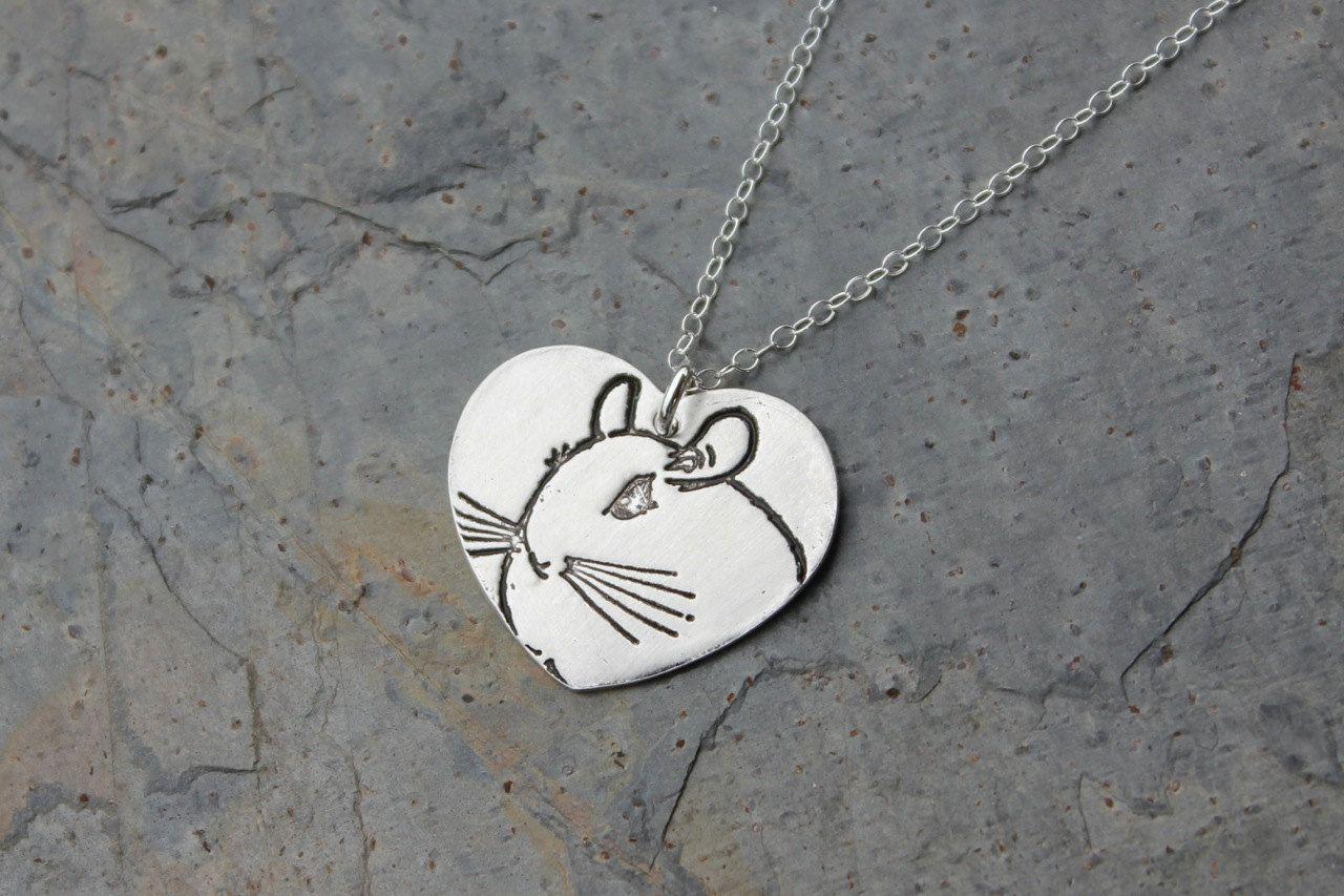 Chinchilla Love necklace  fine silver by WinterberryJewelry, $52.00