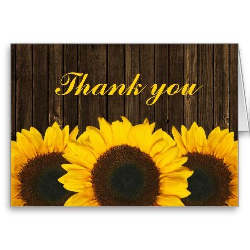 Sunflower Barn Wood Thank You Cards