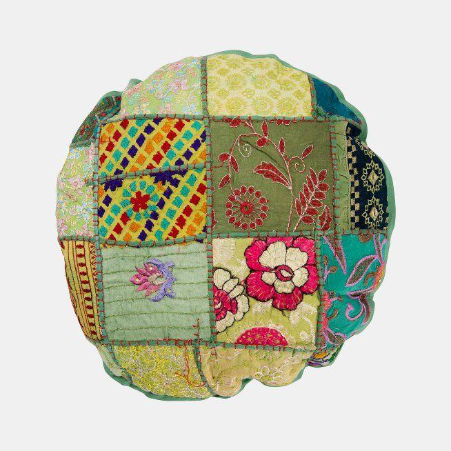 3R Studios Vintage Green Patchwork Sari Round Pillow | Hayneedle