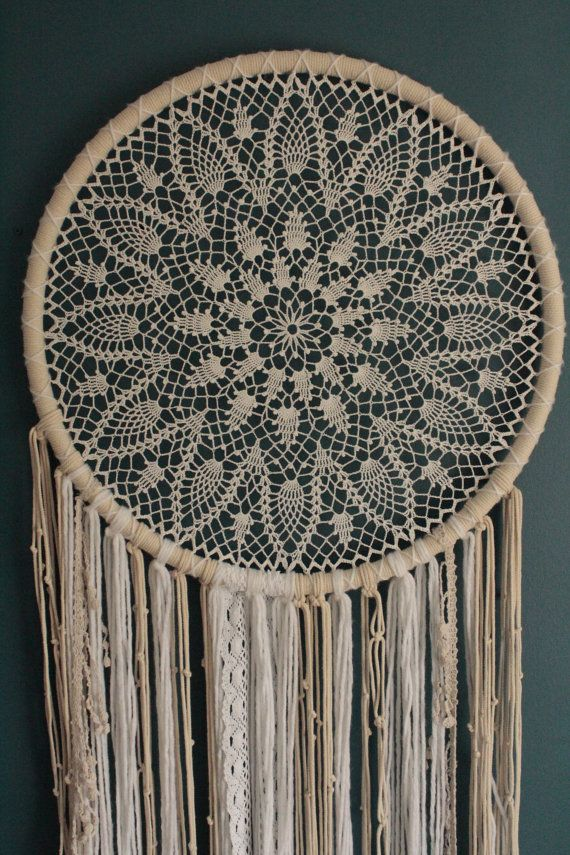 Dream catcher wall hanging, large dreamcatcher, crochet wall hanging