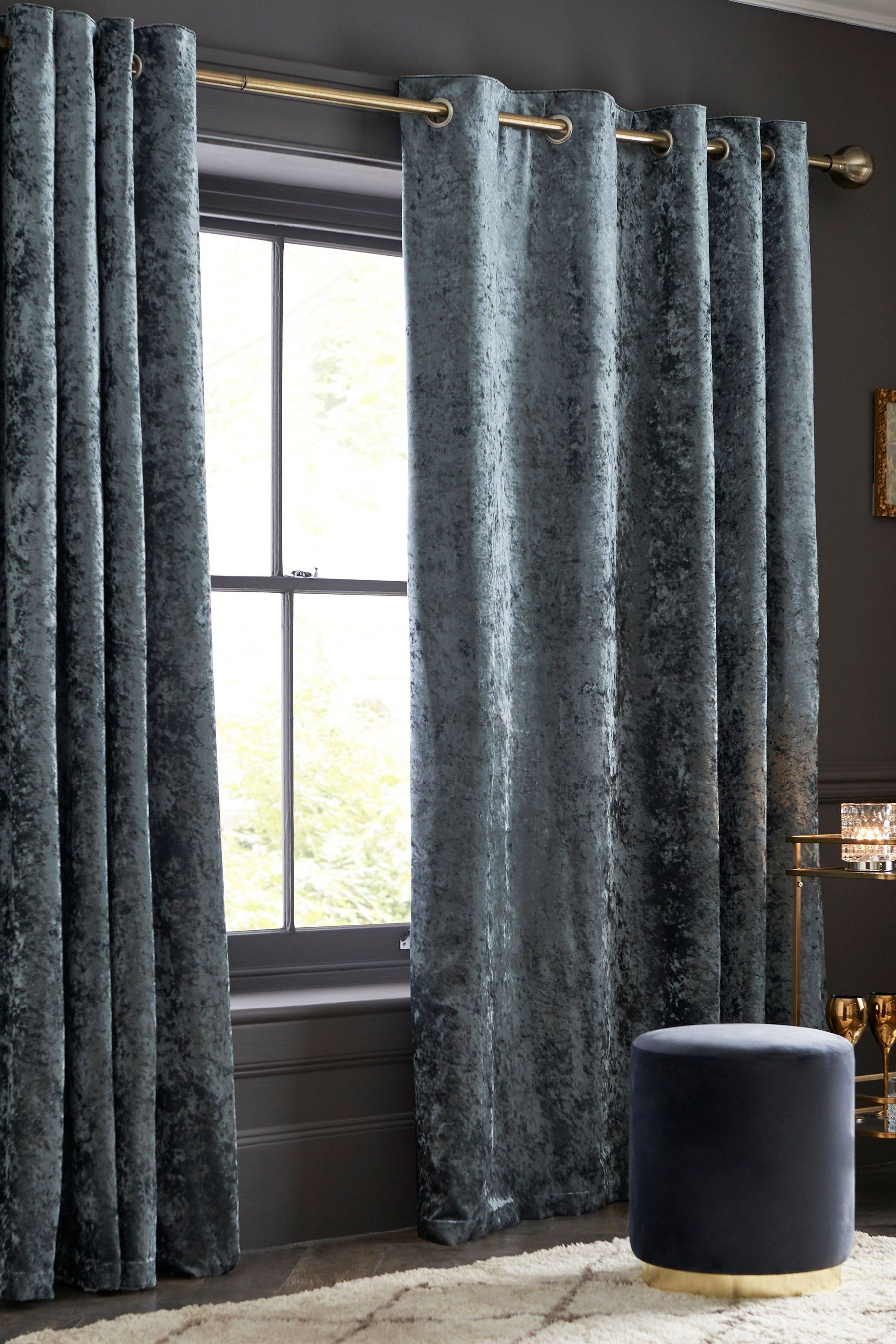 Next Crushed Velvet Eyelet Super Thermal Curtains Grey In 2020 Velvet Curtains Lined Curtains Curtains