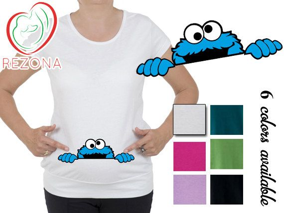 55fcf6cb47e77 Peeking Cookie Monster Maternity clothes t-shirt, tShirt, Pregnancy ...