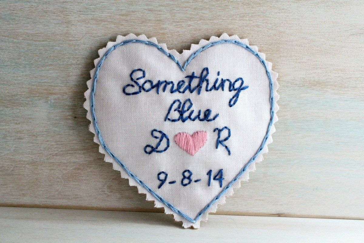 """""""Looking for a very special Something Blue for Bride?! This is a hand embroidered heart with you and your trues loves initials sewn inside your dress. What a perfect touch of whimsy for your big day! Something Blue love note heart is approx. 3\"""" X 3\"""" I can create a smaller Something Blue patch approx. 2\"""" X 2\"""" (seen in the last image) I created this hand embroidery to be a finished patch that is easily hand sewn inside your wedding dress. Patch is very sturdy and easy to work with. Something B"""