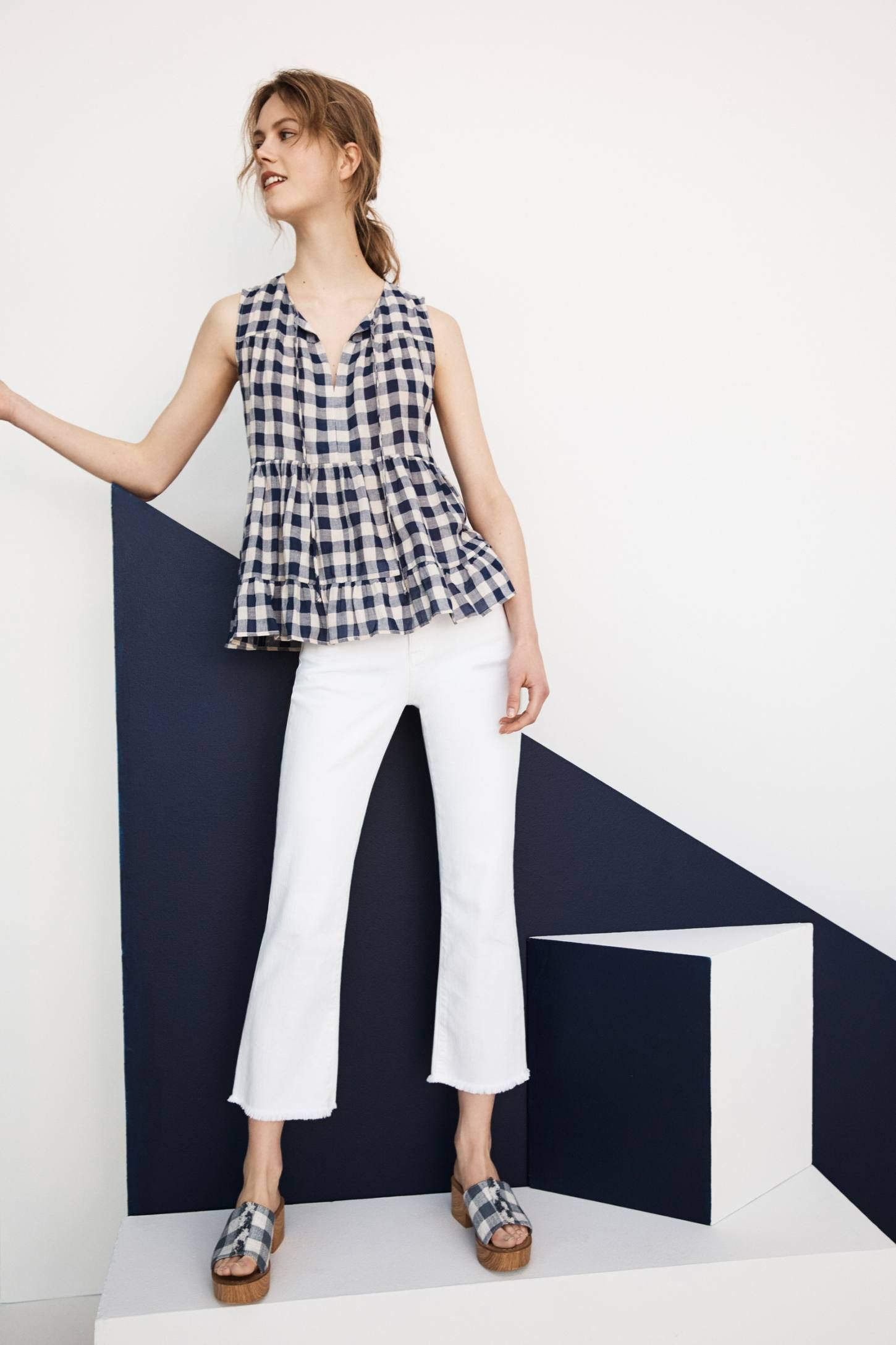 9d3cf62de3592 Slide View: 6: Skirted Top Gingham, Anthropologie, Capri Pants, Fashion  Photography