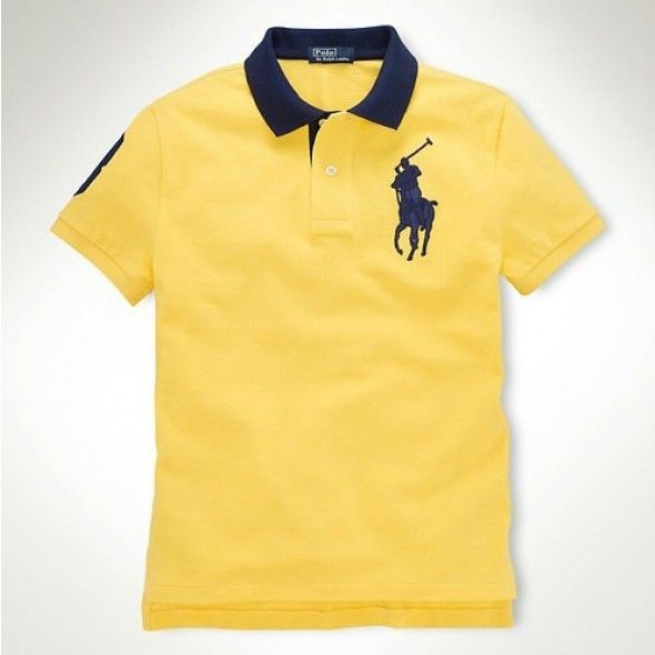 Men Purchase Ralph Lauren Navy Big Pony Polo Yellow