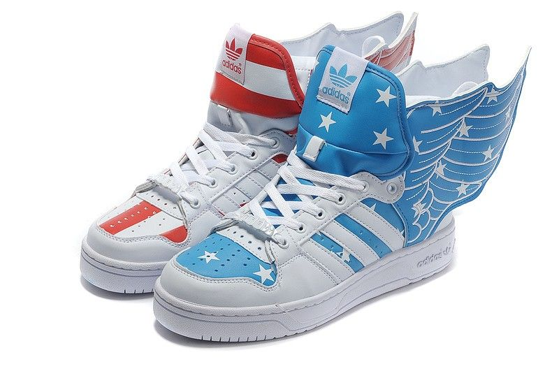 08697d2a5e79 Big Deals Adidas Originals Jeremy Scott Wings 2.0 Air Force Flag Pack  Sneakers White Blue Red