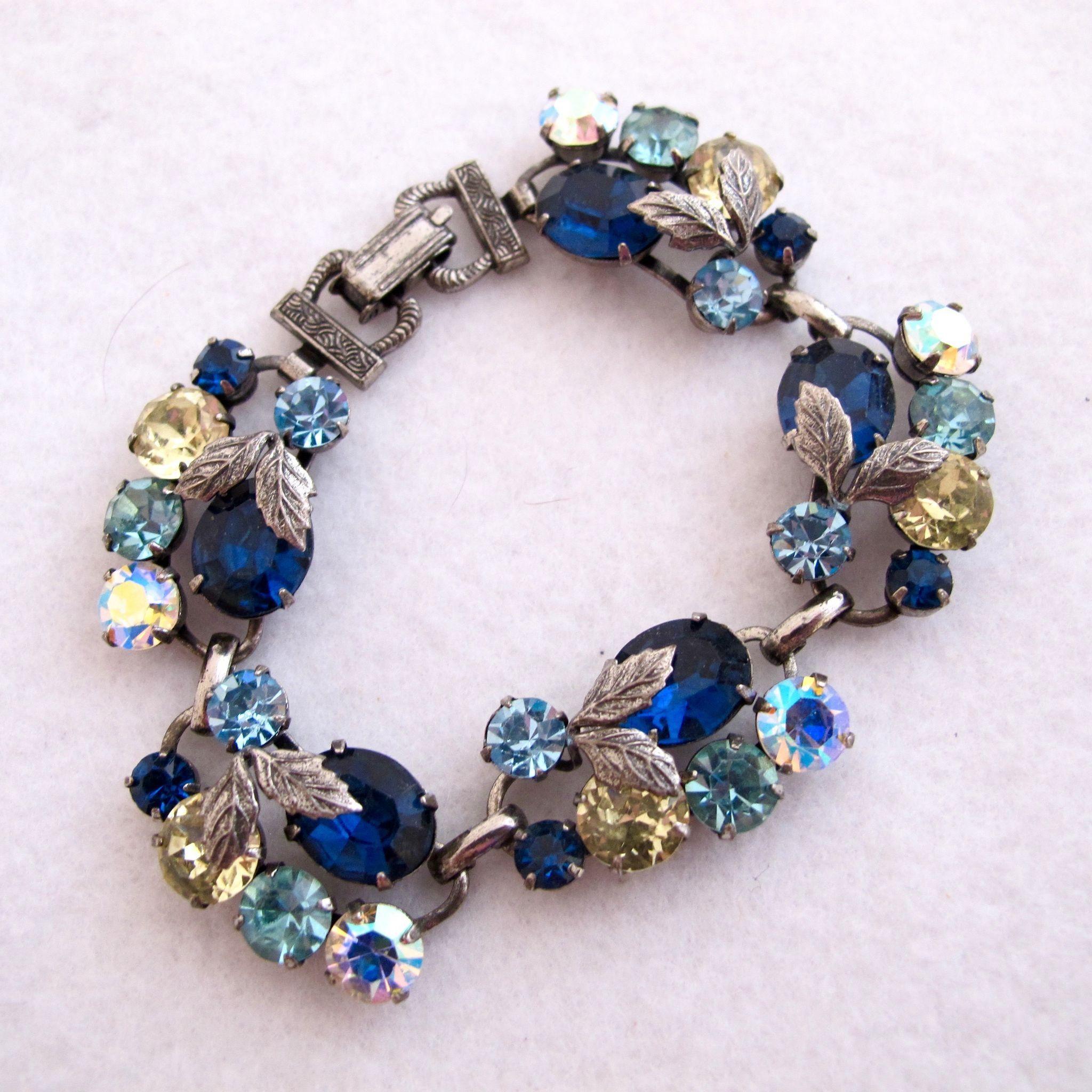 Vintage Baby Blue Ribbon and Rhinestone Bangle Bracelet