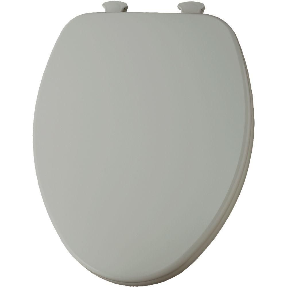 Church LiftOff Elongated Closed Front Toilet Seat in Ice Gray Ice