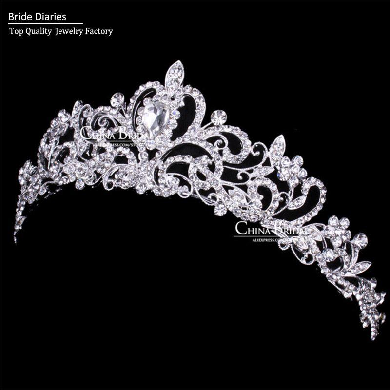 RHINESTONE TIARA Silver Floating Crystals Wedding Prom Party STUNNING!