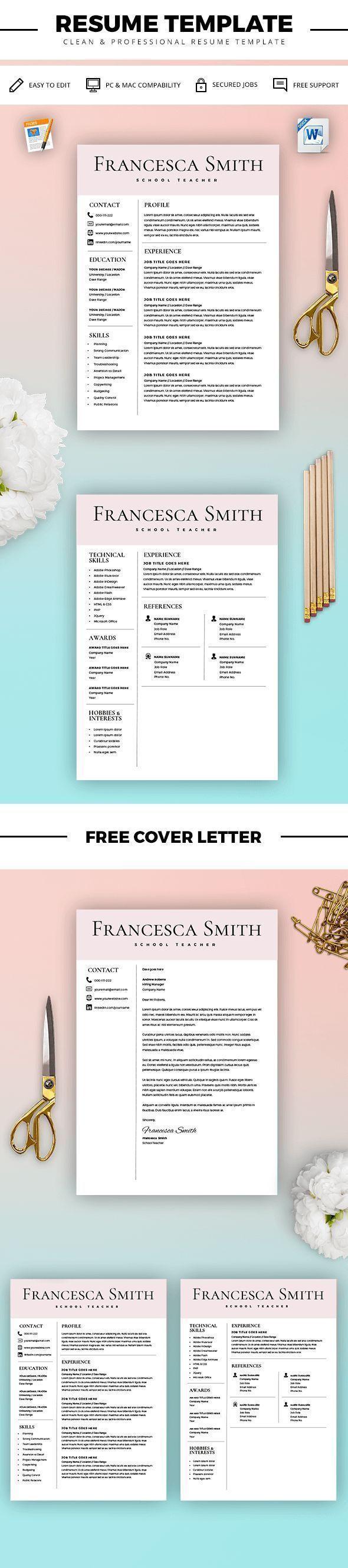 Teacher Resume Template - Resume for Teacher - Cover Letter for ...
