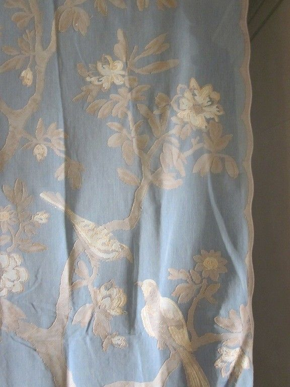 BIRDS OF PARADISE Antique Style Madras Cotton Lace Curtain Panel