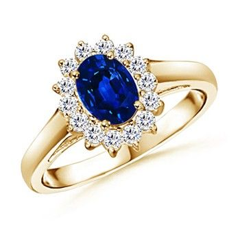 Angara Solitaire Sapphire Diamond Crossover Engagement Ring in Yellow Gold 8TapF