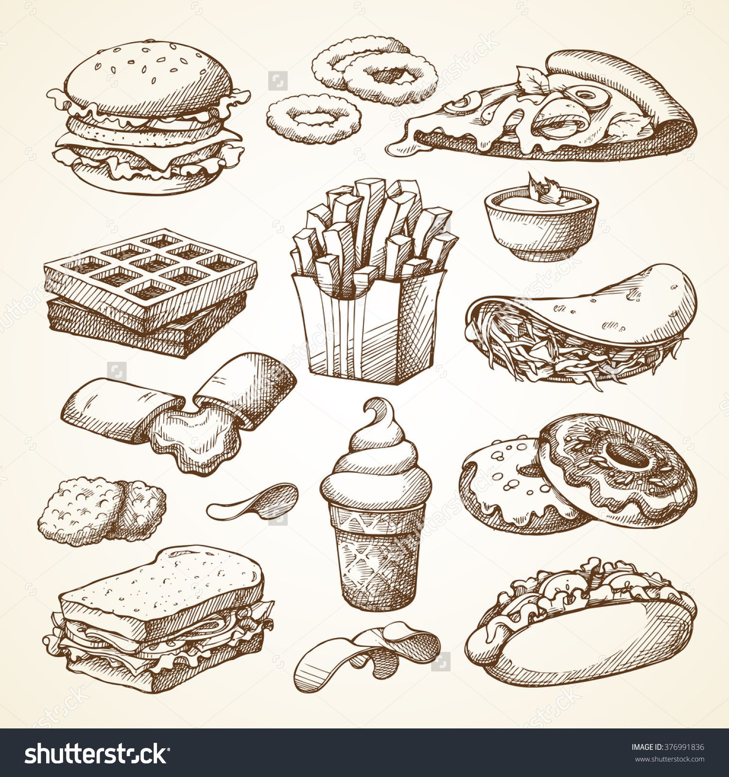 Set With Fast Food Illustration. Sketch Vector ...