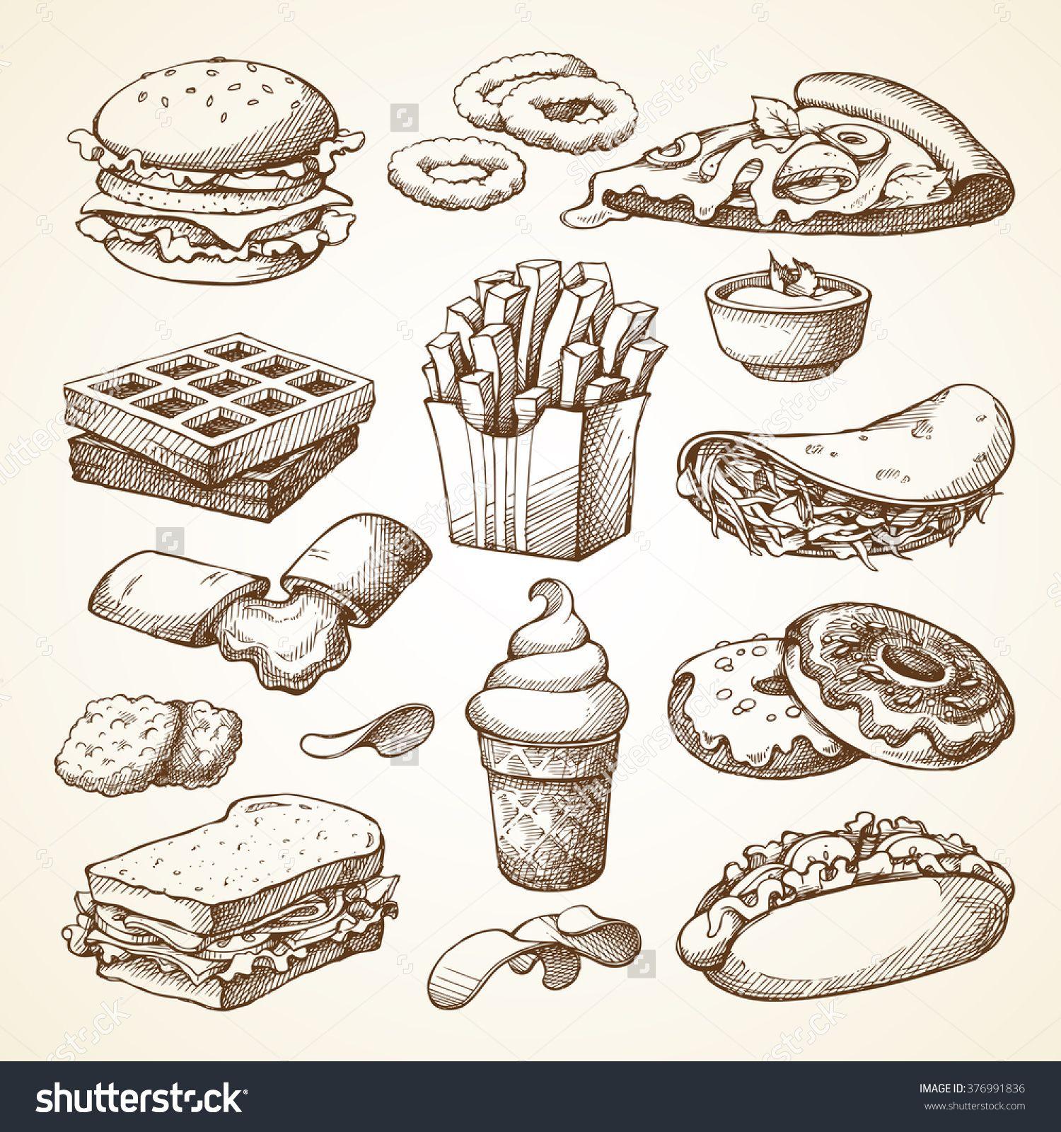 Set With Fast Food Illustration. Sketch Vector ...