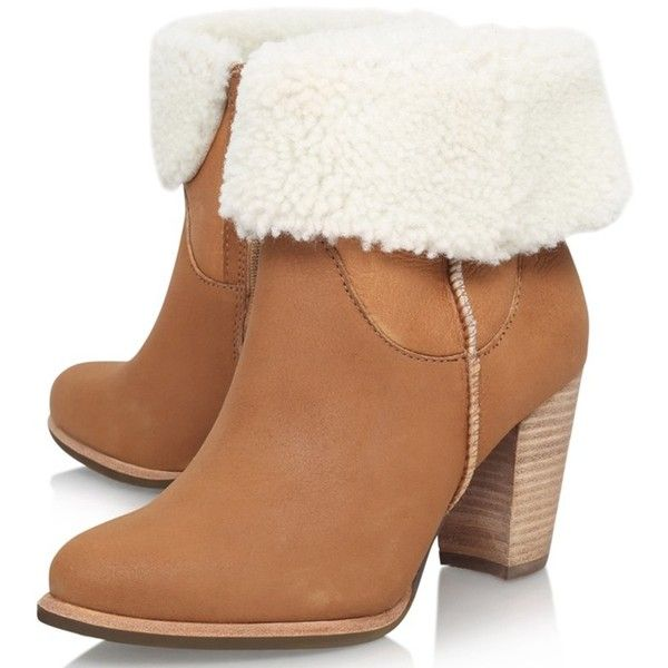 UGG Charlee Block Heeled Ankle Boots , Brown Suede (400 MYR) ❤ liked on