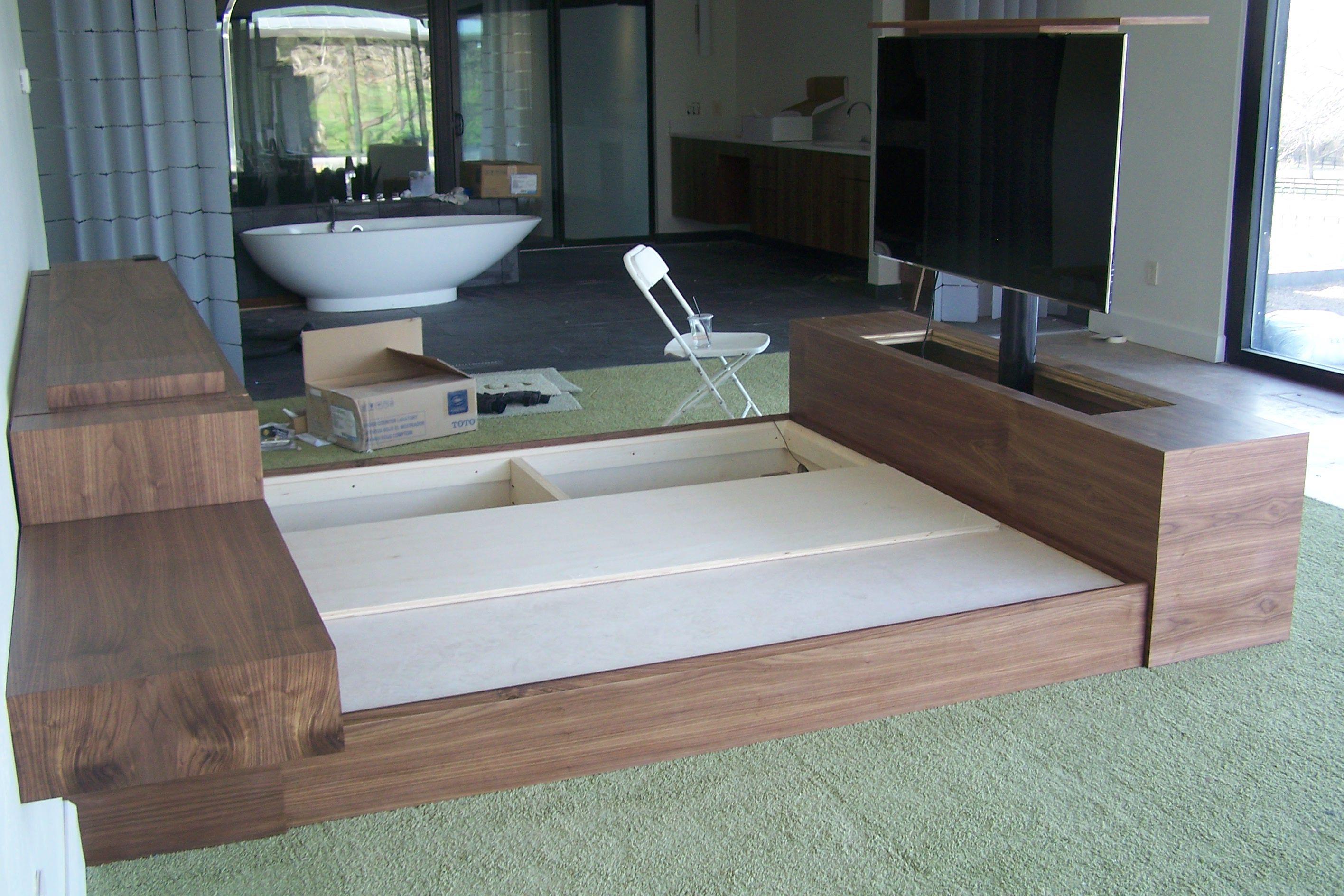 """black walnut king bed w/50"""" tv lift work picsstuff i"""