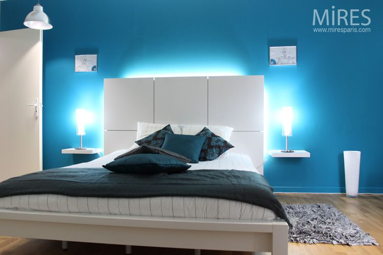 chambre moderne bleu | chambre à coucher design | chambre à ...