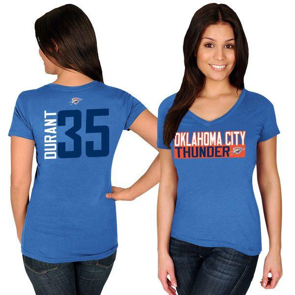 Kevin Durant Oklahoma City Thunder Majestic Women's Name & Number V-Neck T- Shirt - Blue