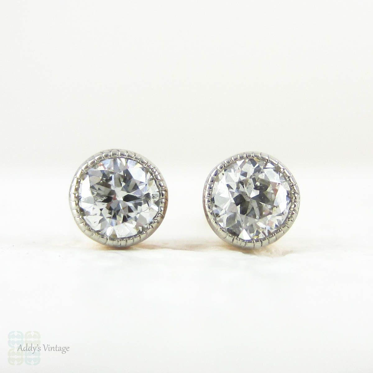 Old European Diamond Earrings In Rose Gold With Platinum Edge Antique 1900s Baby Bezel Settings Milgrain Beading 18ct