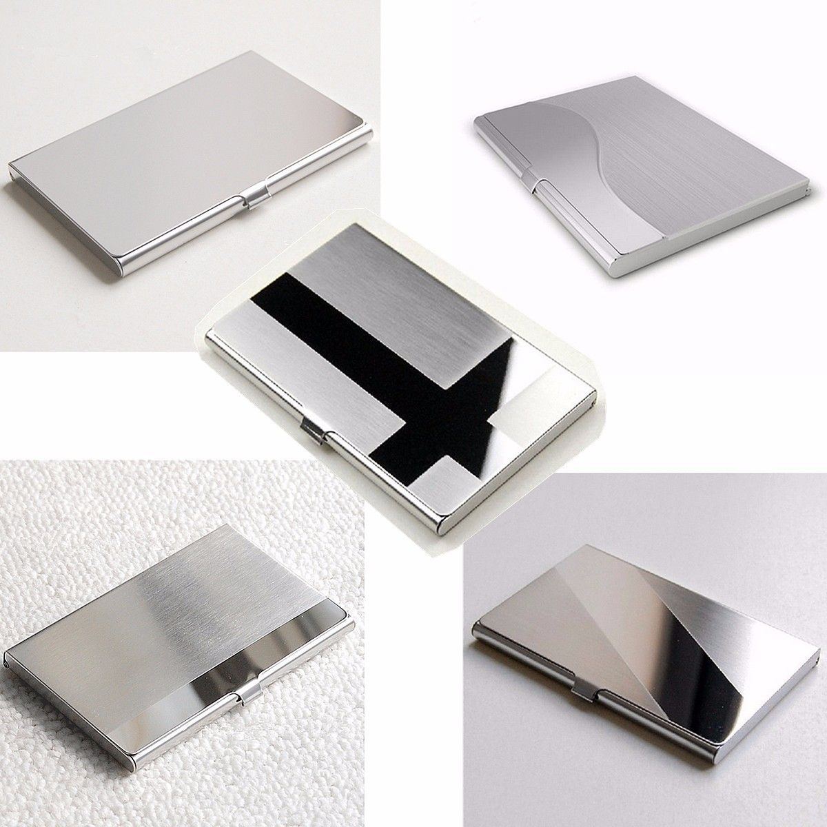 Stainless Steel Business ID Credit Card Holder Name Card Wallet ...