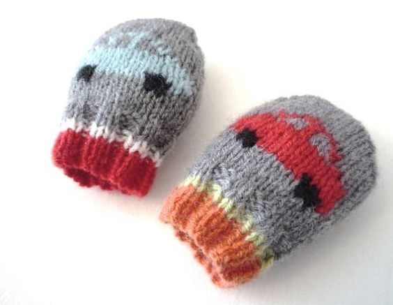 BABY KNITTING PATTERNS - baby mittens - little cars ...
