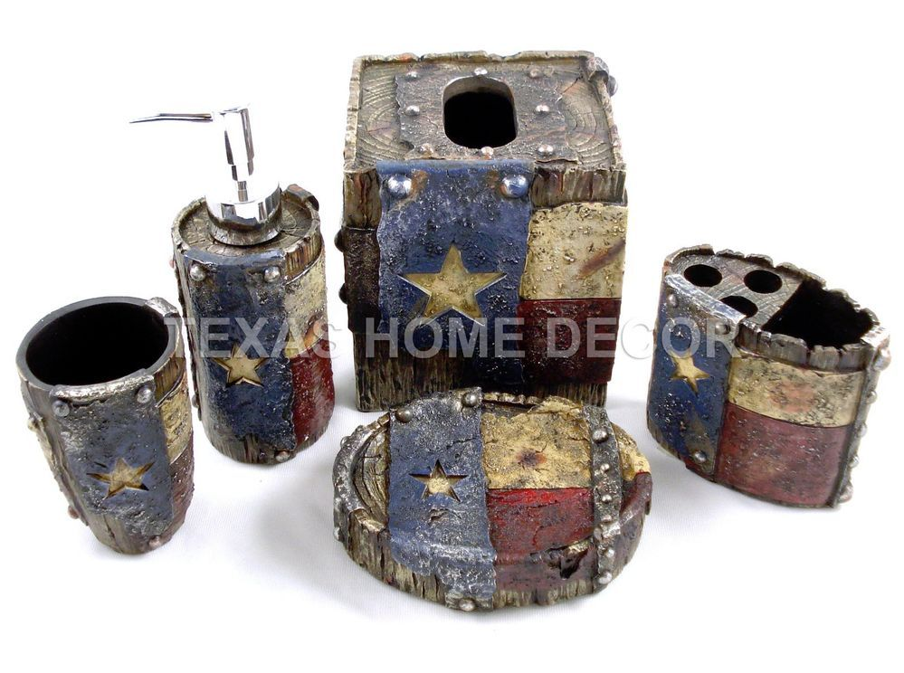 Nice Rustic Texas Flag Star Bathroom Accessory Set 5 Pieces Faux Wood Look Studs